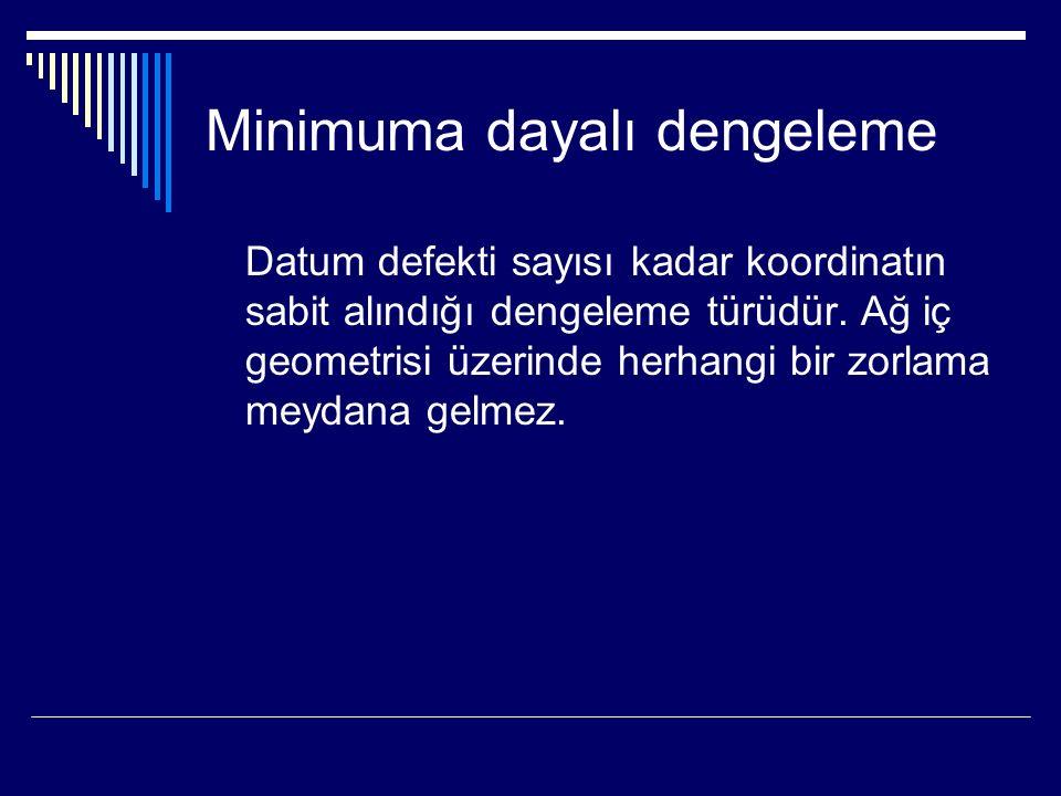 Minimuma dayalı dengeleme Datum defekti sayısı kadar koordinatın sabit alındığı dengeleme türüdür.