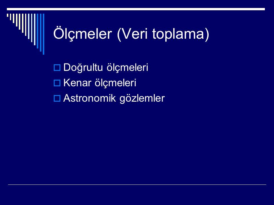 Ölçmeler (Veri toplama)  Doğrultu ölçmeleri  Kenar ölçmeleri  Astronomik gözlemler