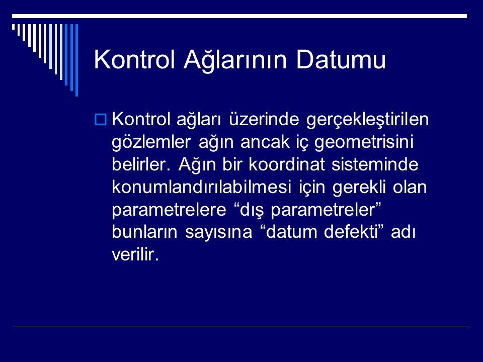 Kontrol Ağlarının Datumu  Kontrol ağları üzerinde gerçekleştirilen gözlemler ağın ancak iç geometrisini belirler.