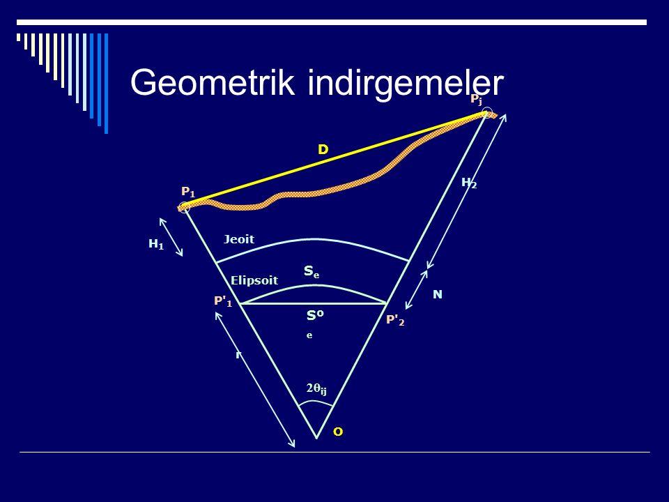 2θ ij P1P1 r PjPj Sº e P 1 H1H1 H2H2 N SeSe P 2 D Jeoit Elipsoit O Geometrik indirgemeler
