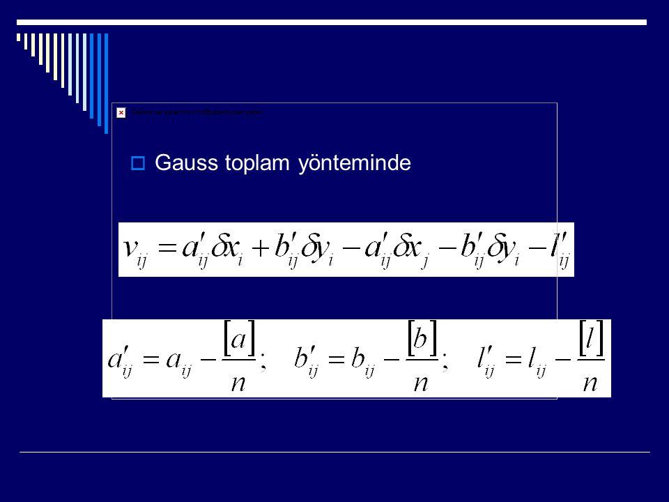  Gauss toplam yönteminde