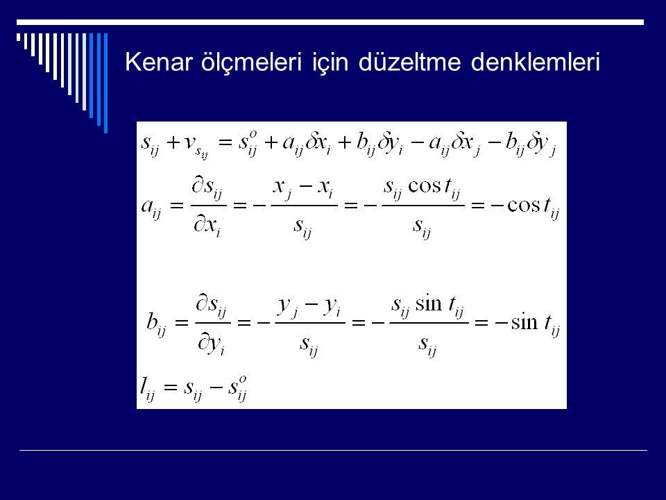 Kenar ölçmeleri için düzeltme denklemleri