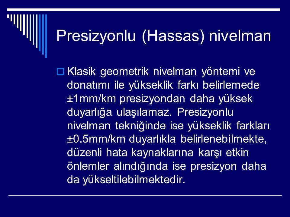Presizyonlu (Hassas) nivelman  Klasik geometrik nivelman yöntemi ve donatımı ile yükseklik farkı belirlemede ±1mm/km presizyondan daha yüksek duyarlığa ulaşılamaz.