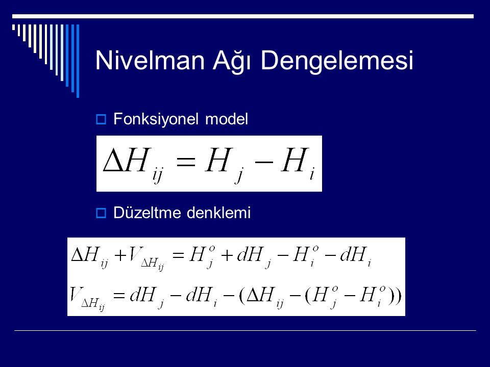 Nivelman Ağı Dengelemesi  Fonksiyonel model  Düzeltme denklemi