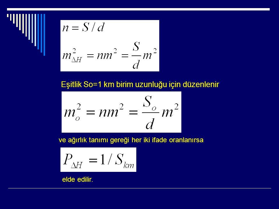 Eşitlik So=1 km birim uzunluğu için düzenlenir ve ağırlık tanımı gereği her iki ifade oranlanırsa elde edilir.