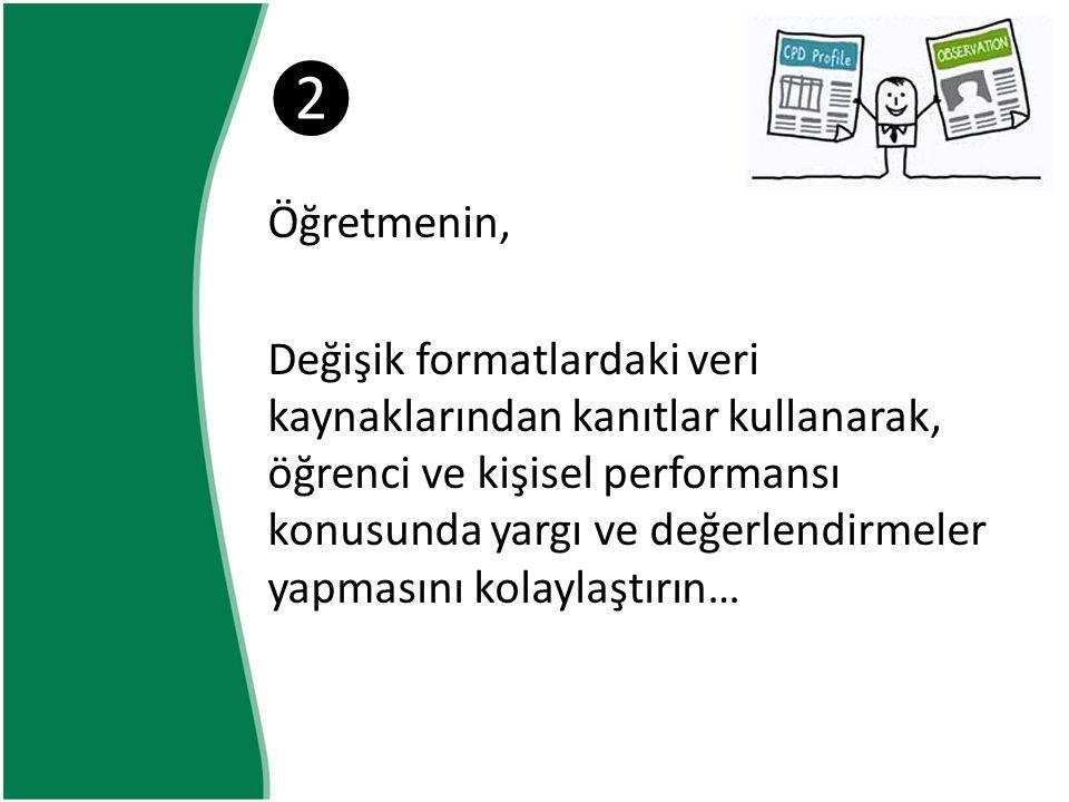 ❷ Öğretmenin, Değişik formatlardaki veri kaynaklarından kanıtlar kullanarak, öğrenci ve kişisel performansı konusunda yargı ve değerlendirmeler yapmasını kolaylaştırın…
