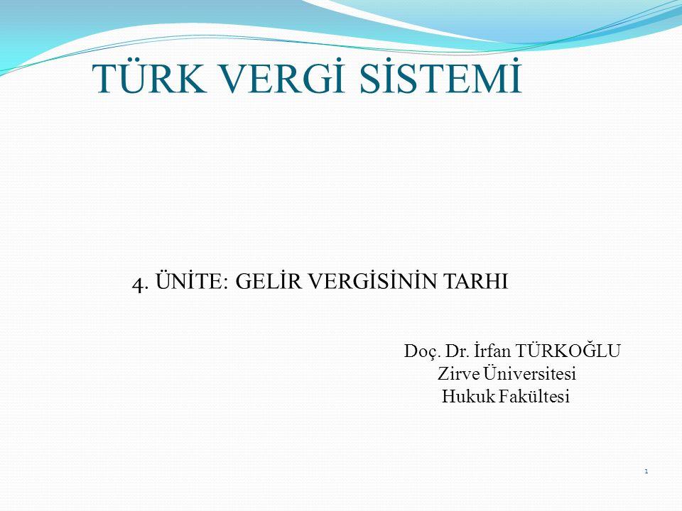 1 TÜRK VERGİ SİSTEMİ 4. ÜNİTE: GELİR VERGİSİNİN TARHI Doç. Dr. İrfan TÜRKOĞLU Zirve Üniversitesi Hukuk Fakültesi