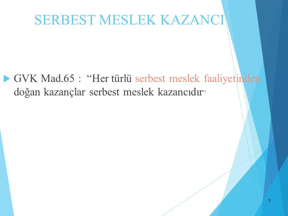 """9 SERBEST MESLEK KAZANCI  GVK Mad.65 : """"Her türlü serbest meslek faaliyetinden doğan kazançlar serbest meslek kazancıdır """""""