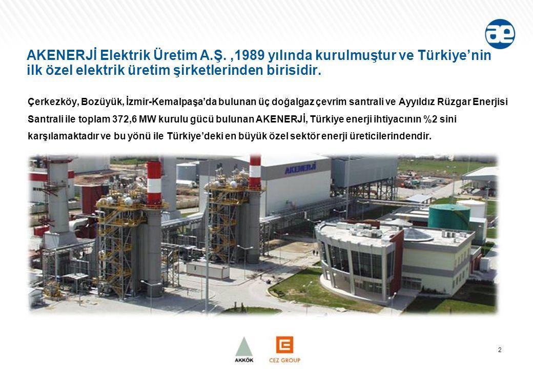 AKENERJİ Elektrik Üretim A.Ş.,1989 yılında kurulmuştur ve Türkiye'nin ilk özel elektrik üretim şirketlerinden birisidir.