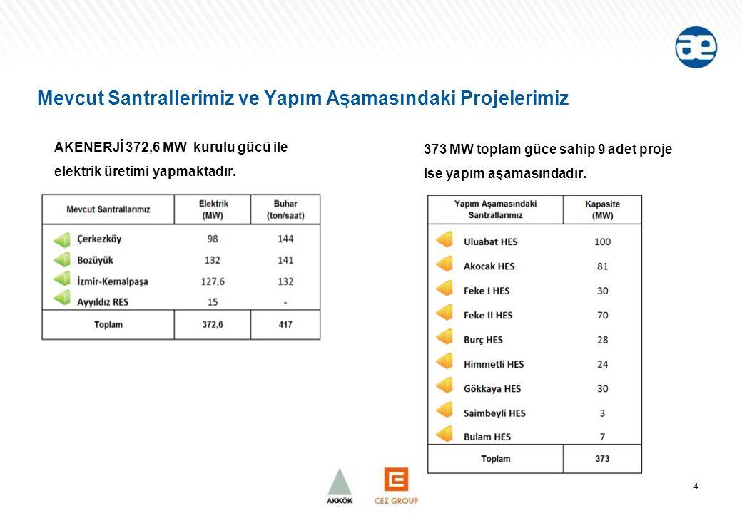 Mevcut Santrallerimiz ve Yapım Aşamasındaki Projelerimiz AKENERJİ 372,6 MW kurulu gücü ile elektrik üretimi yapmaktadır.