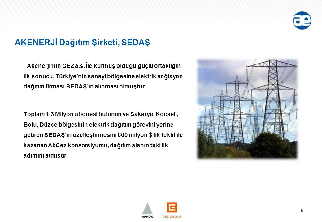 AKENERJİ Dağıtım Şirketi, SEDAŞ Akenerji'nin CEZ a.s.
