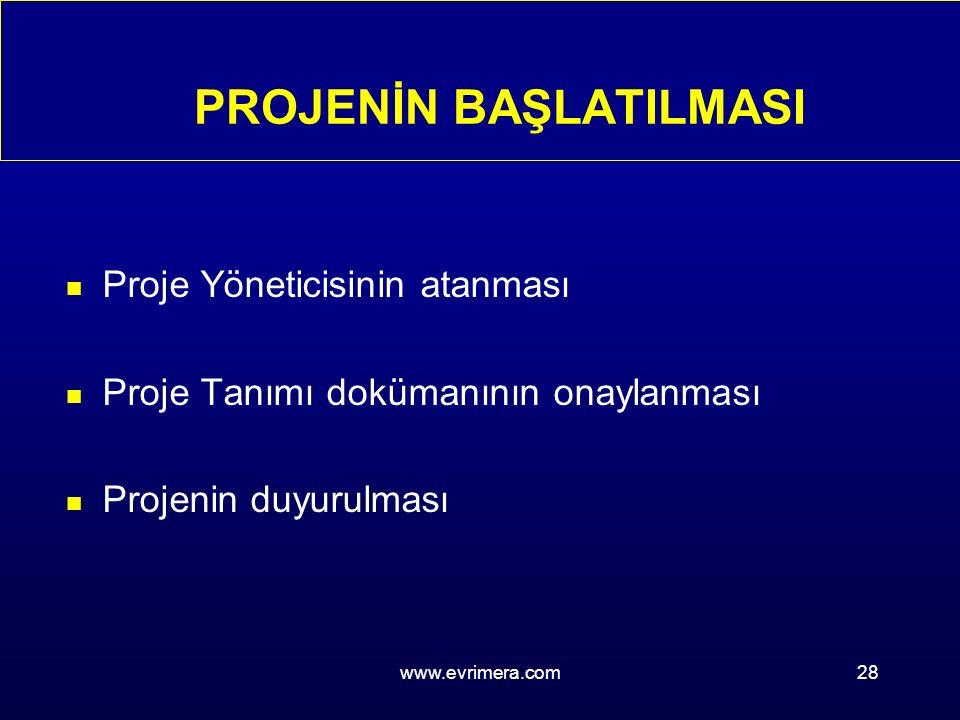 www.evrimera.com28 PROJENİN BAŞLATILMASI n Proje Yöneticisinin atanması n Proje Tanımı dokümanının onaylanması n Projenin duyurulması