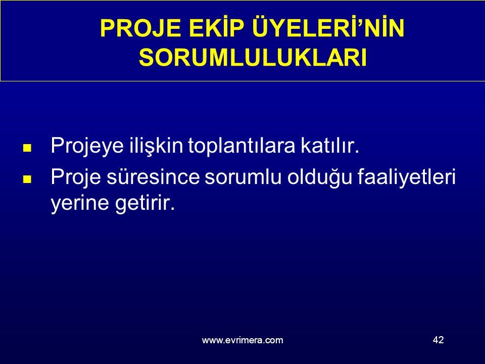 www.evrimera.com42 PROJE EKİP ÜYELERİ'NİN SORUMLULUKLARI n Projeye ilişkin toplantılara katılır.