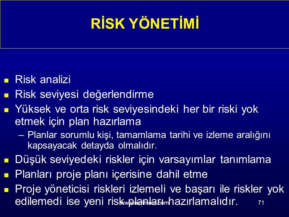www.evrimera.com71 n Risk analizi n Risk seviyesi değerlendirme n Yüksek ve orta risk seviyesindeki her bir riski yok etmek için plan hazırlama –Planlar sorumlu kişi, tamamlama tarihi ve izleme aralığını kapsayacak detayda olmalıdır.