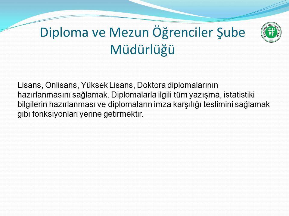 Diploma ve Mezun Öğrenciler Şube Müdürlüğü Lisans, Önlisans, Yüksek Lisans, Doktora diplomalarının hazırlanmasını sağlamak.