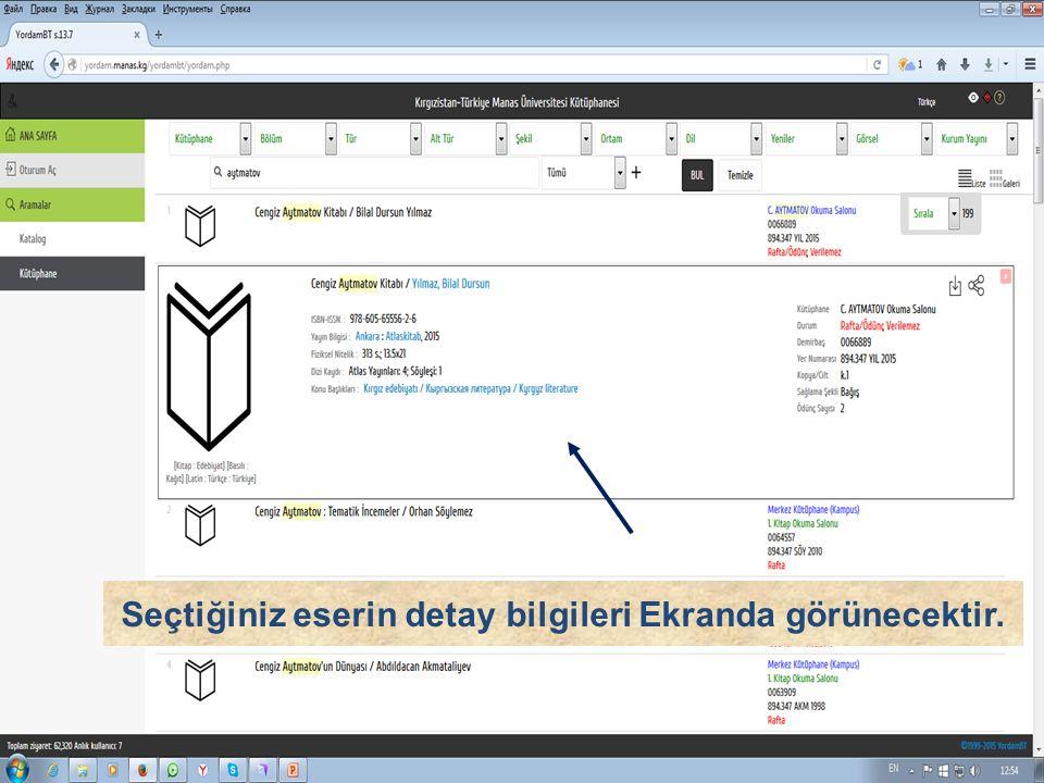 Seçtiğiniz eserin detay bilgileri Ekranda görünecektir.