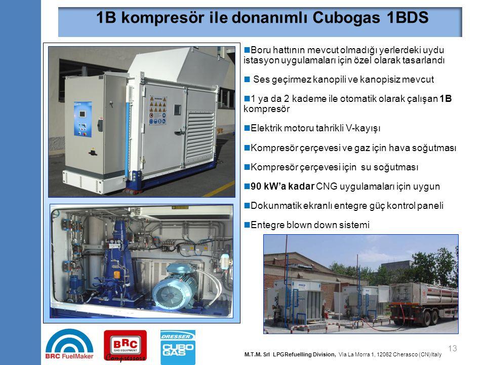 13 1B kompresör ile donanımlı Cubogas 1BDS Boru hattının mevcut olmadığı yerlerdeki uydu istasyon uygulamaları için özel olarak tasarlandı Ses geçirme