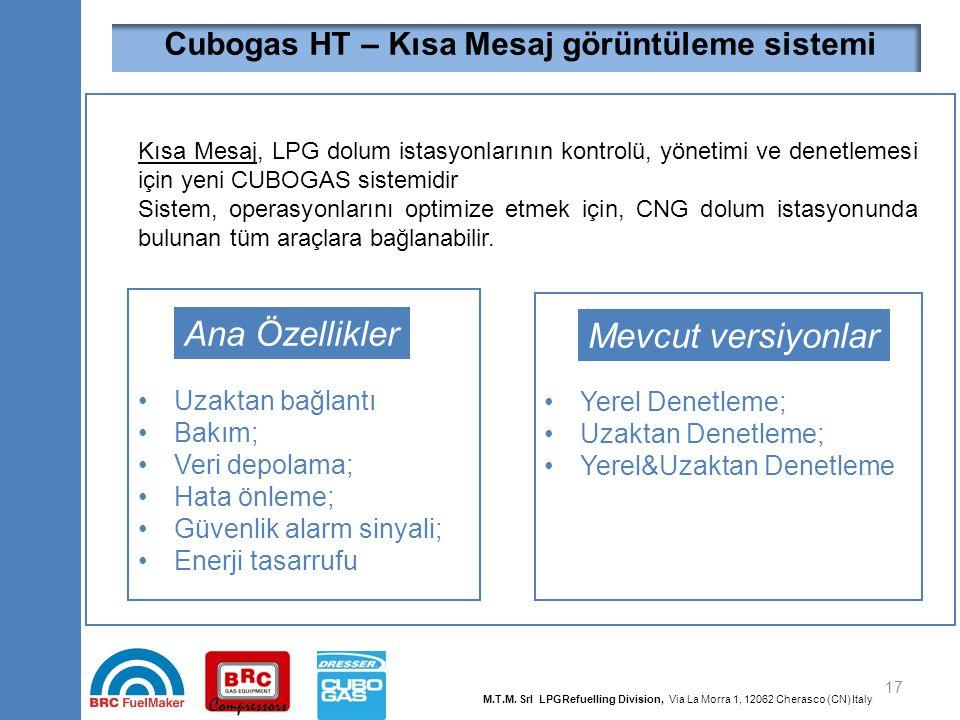 17 Kısa Mesaj, LPG dolum istasyonlarının kontrolü, yönetimi ve denetlemesi için yeni CUBOGAS sistemidir Sistem, operasyonlarını optimize etmek için, C