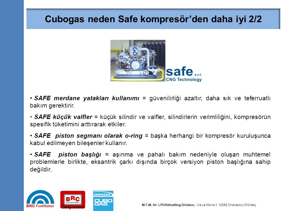 39 Why Dresser is better than SAFE compressor 2/2 SAFE merdane yatakları kullanımı = güvenilirliği azaltır, daha sık ve teferruatlı bakım gerektirir.