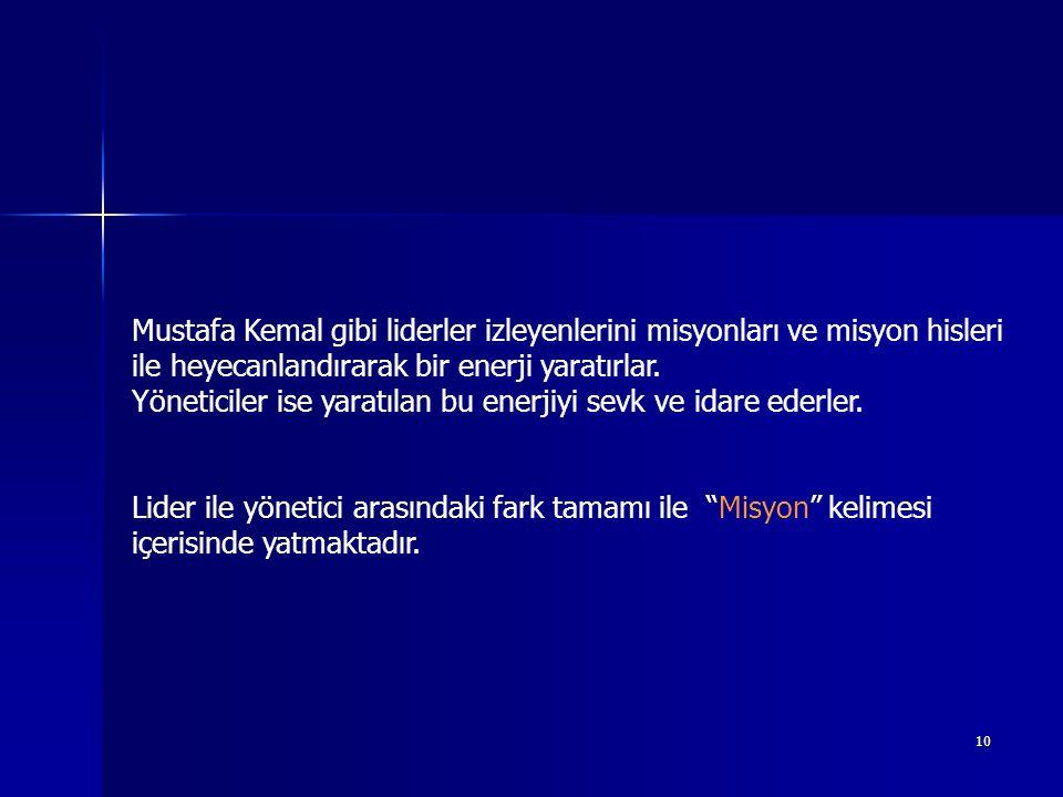 """9 Mustafa Kemal Liderlikle ilgili diyor ki; """"Efendiler, tarih, itiraz edilemez bir şekilde ispatlamıştır ki, büyük dâvâlarda başarı için sarsılmaz bir"""