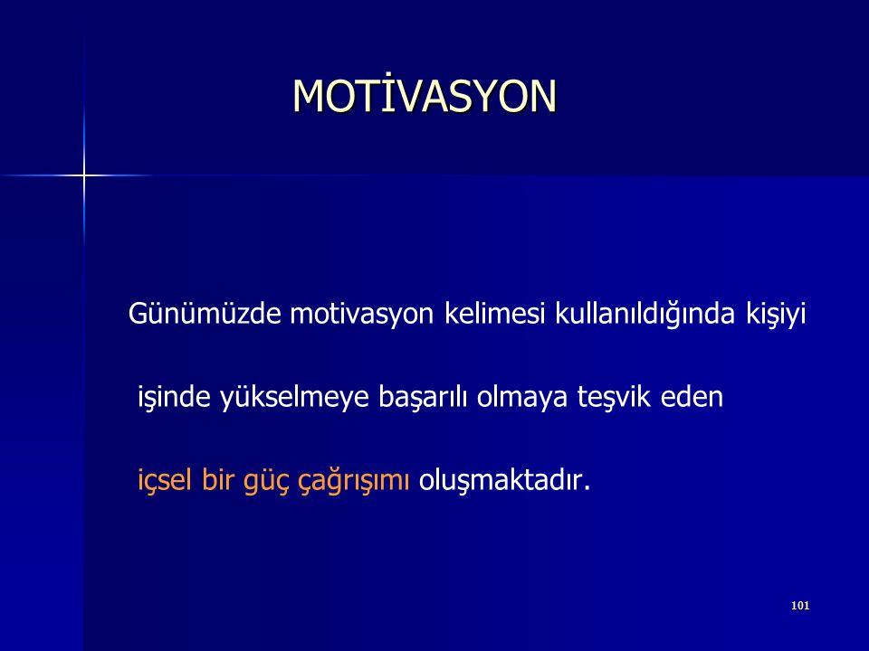 100 Bir şeyi yapmak istemeyi sağlayan ve içten gelen İtici güçtür. Motivasyon Latince movere kelimesinden gelir ve harekete. geçiren demektir. MOTİVAS