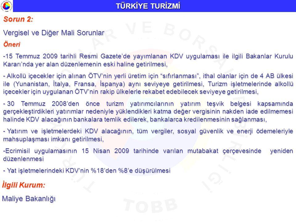 TÜRKİYE TURİZMİ Sorun 2: Vergisel ve Diğer Mali Sorunlar Öneri -15 Temmuz 2009 tarihli Resmi Gazete'de yayımlanan KDV uygulaması ile ilgili Bakanlar K
