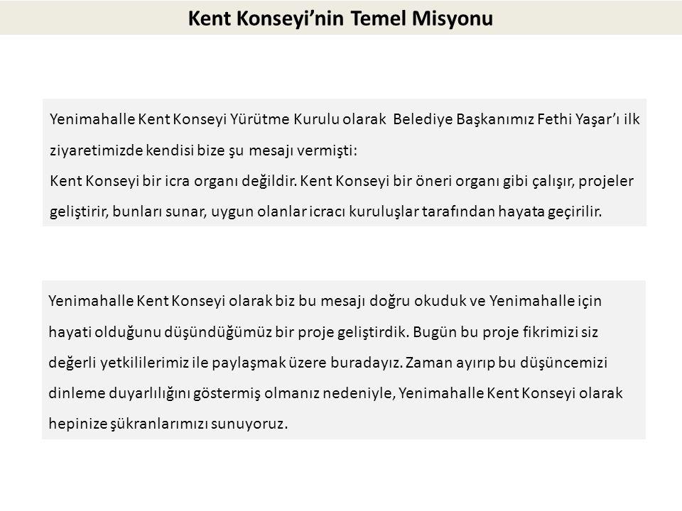 Yenimahalle Kent Konseyi Yürütme Kurulu olarak Belediye Başkanımız Fethi Yaşar'ı ilk ziyaretimizde kendisi bize şu mesajı vermişti: Kent Konseyi bir i