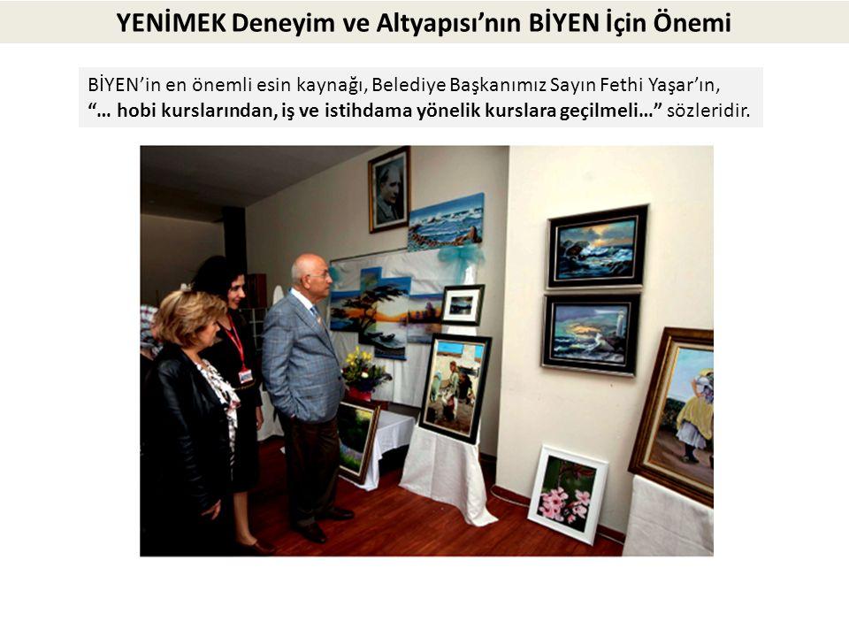 """YENİMEK Deneyim ve Altyapısı'nın BİYEN İçin Önemi BİYEN'in en önemli esin kaynağı, Belediye Başkanımız Sayın Fethi Yaşar'ın, """"… hobi kurslarından, iş"""