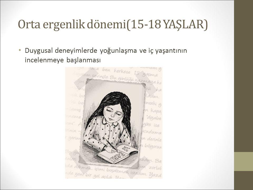 Orta ergenlik dönemi(15-18 YAŞLAR) Duygusal deneyimlerde yoğunlaşma ve iç yaşantının incelenmeye başlanması