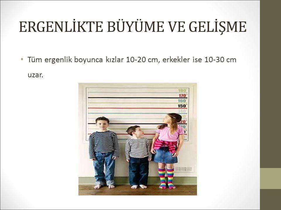 ERGENLİKTE BÜYÜME VE GELİŞME Tüm ergenlik boyunca kızlar 10-20 cm, erkekler ise 10-30 cm uzar.