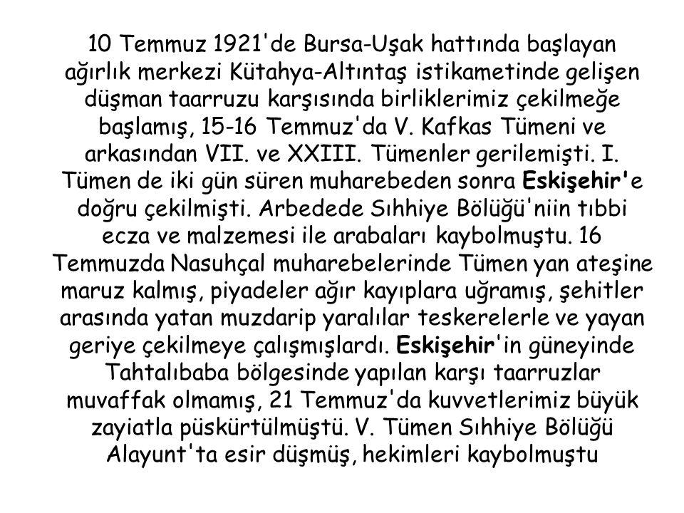 10 Temmuz 1921 de Bursa-Uşak hattında başlayan ağırlık merkezi Kütahya-Altıntaş istikametinde gelişen düşman taarruzu karşısında birliklerimiz çekilmeğe başlamış, 15-16 Temmuz da V.