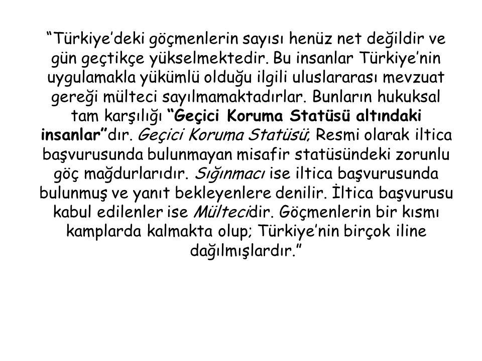 Türkiye'deki göçmenlerin sayısı henüz net değildir ve gün geçtikçe yükselmektedir.