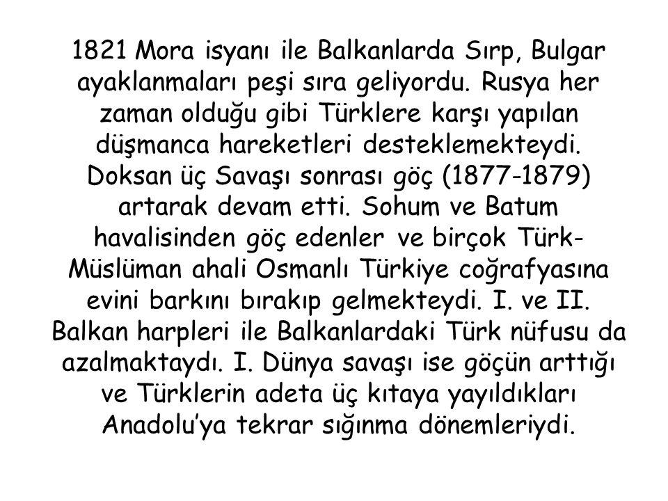1821 Mora isyanı ile Balkanlarda Sırp, Bulgar ayaklanmaları peşi sıra geliyordu.