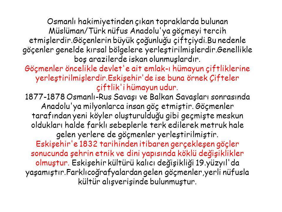 Osmanlı hakimiyetinden çıkan topraklarda bulunan Müslüman/Türk nüfus Anadolu ya göçmeyi tercih etmişlerdir.Göçenlerin büyük çoğunluğu çiftçiydi.Bu nedenle göçenler genelde kırsal bölgelere yerleştirilmişlerdir.Genellikle boş arazilerde iskan olunmuşlardır.