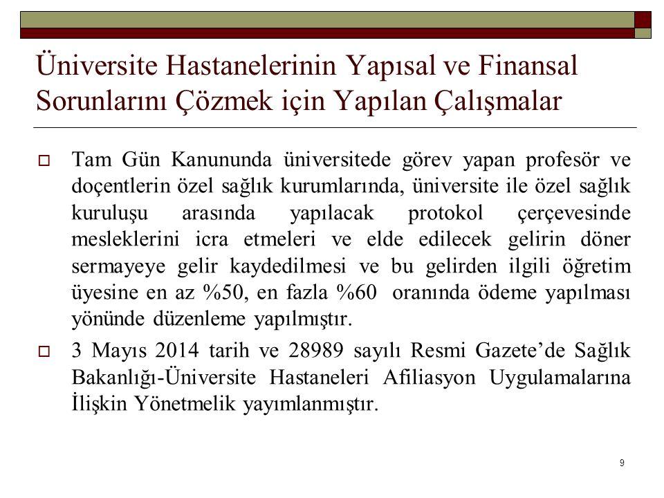 Üniversite Hastanelerinin Yapısal ve Finansal Sorunlarını Çözmek için Yapılan Çalışmalar  2015 yılında Ankara Üniversitesi, Dicle Üniversitesi, Hacettepe Üniversitesi ile Götürü Bedel Üzerinden Sağlık Hizmeti Alım Sözleşmesi ve Usul Esasları imzalanmış olup 2016 yılında da sözleşmelere devem edileceği öngörülmektedir.