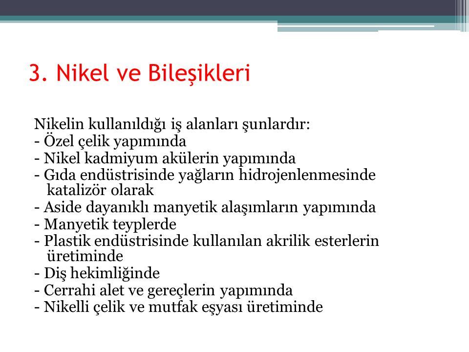 3. Nikel ve Bileşikleri Nikelin kullanıldığı iş alanları şunlardır: - Özel çelik yapımında - Nikel kadmiyum akülerin yapımında - Gıda endüstrisinde ya