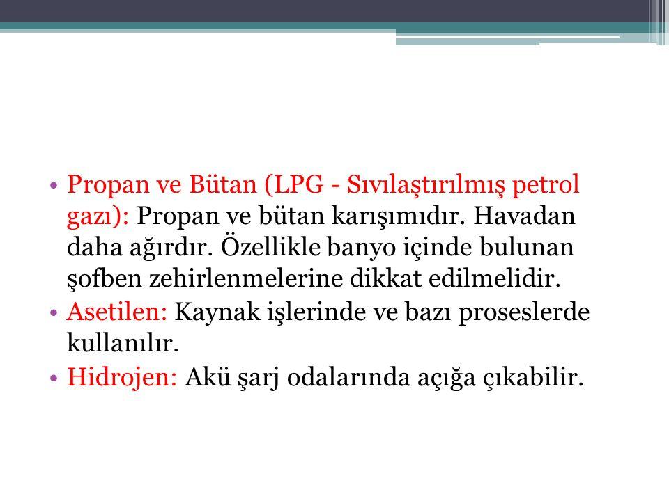 Propan ve Bütan (LPG - Sıvılaştırılmış petrol gazı): Propan ve bütan karışımıdır. Havadan daha ağırdır. Özellikle banyo içinde bulunan şofben zehirlen
