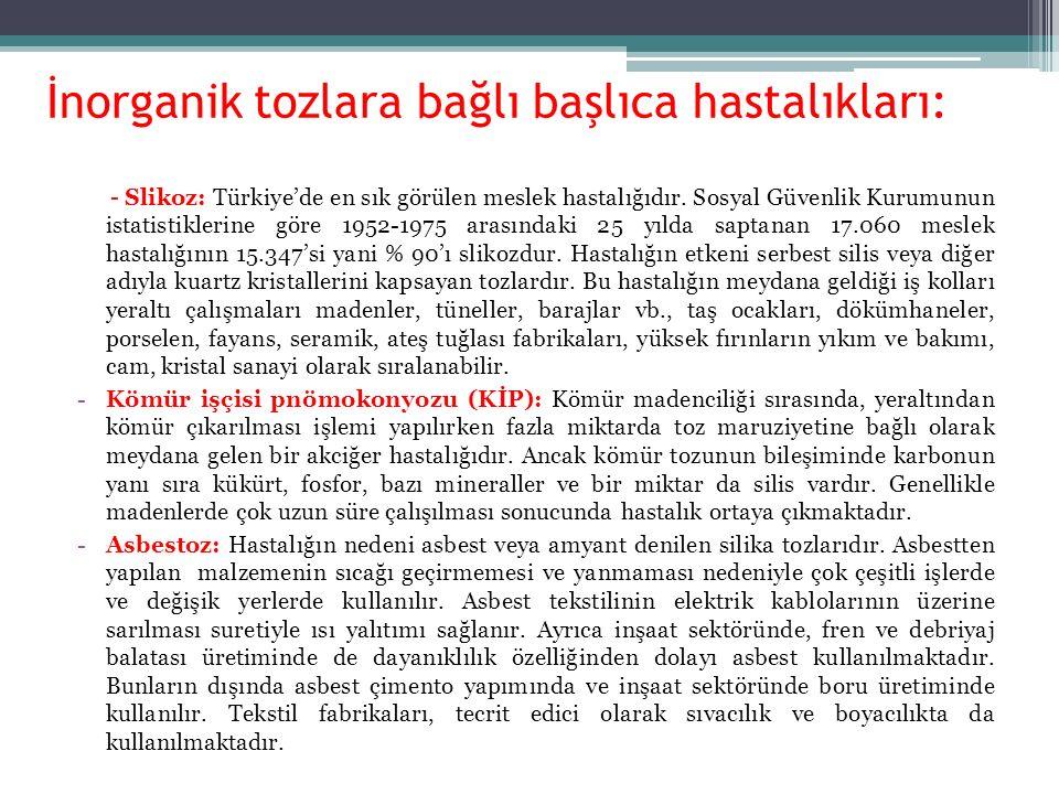 İnorganik tozlara bağlı başlıca hastalıkları: - Slikoz: Türkiye'de en sık görülen meslek hastalığıdır. Sosyal Güvenlik Kurumunun istatistiklerine göre