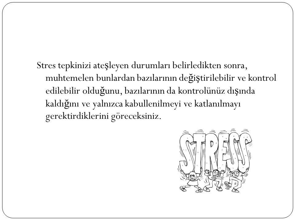 Stres tepkinizi ate ş leyen durumları belirledikten sonra, muhtemelen bunlardan bazılarının de ğ i ş tirilebilir ve kontrol edilebilir oldu ğ unu, baz