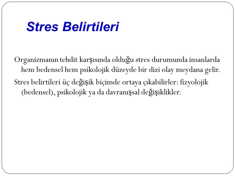 Stres Belirtileri Organizmanın tehdit kar ş ısında oldu ğ u stres durumunda insanlarda hem bedensel hem psikolojik düzeyde bir dizi olay meydana gelir