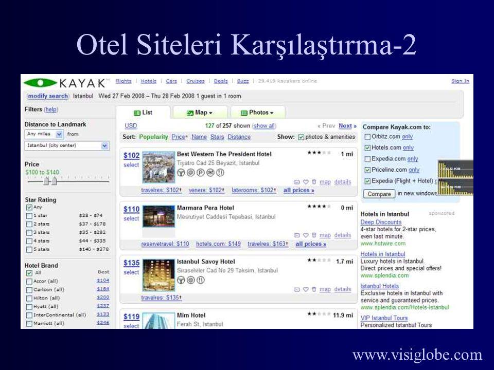 www.visiglobe.com Otel Siteleri Karşılaştırma-2