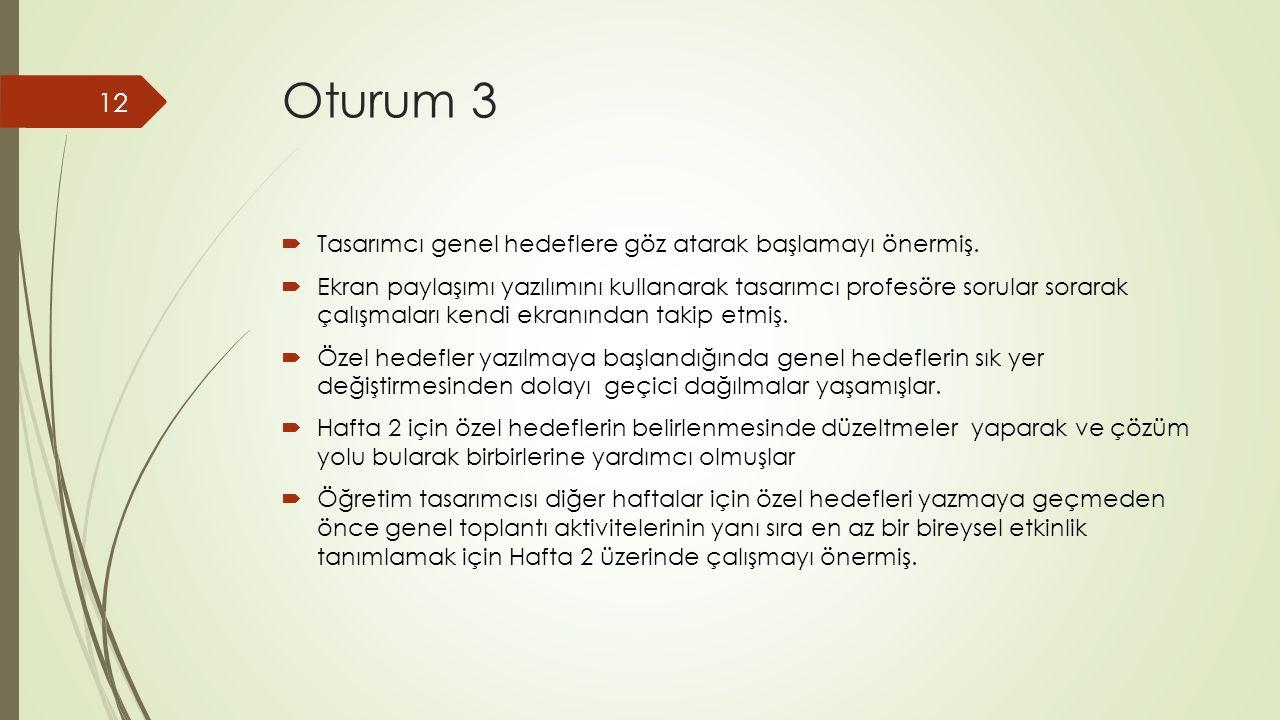 Oturum 3  Tasarımcı genel hedeflere göz atarak başlamayı önermiş.
