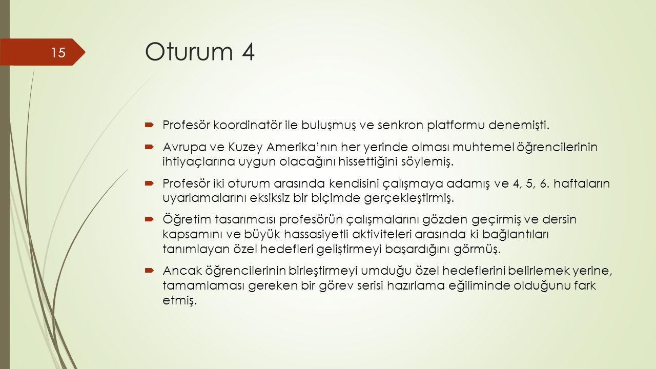 Oturum 4  Profesör koordinatör ile buluşmuş ve senkron platformu denemişti.