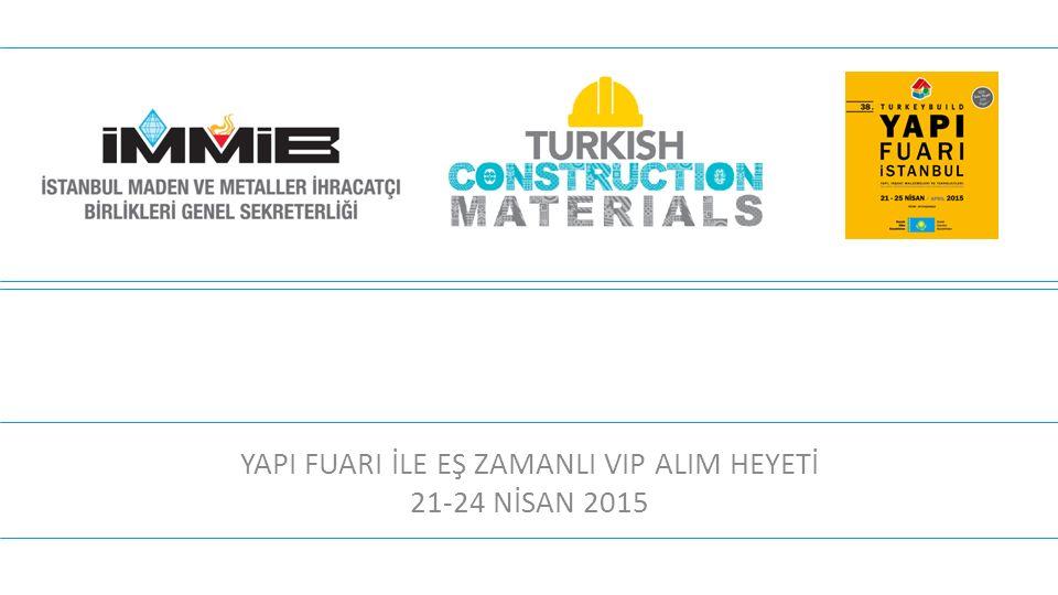 YAPI FUARI İLE EŞ ZAMANLI VIP ALIM HEYETİ 21-24 NİSAN 2015