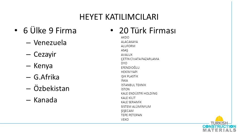 PROGRAM 22 APRIL 2015 --:-- - 09:00 Departure from Hotel 09:30 – 11:00 Arrival to Foreign Trade Center of Turkey (Headquarter of IMMIB) & Welcome greetings; Short Brief about Istanbul Minerals and Metals Exporters Association - IMMIB 11:00 – 11:30Departure from Foreign Trade Center and Arrival to TurkeyBuild Exhibition 11:30 – 13:00Company Visits 13:15 – 15:00Lunch 15:15 – 17:00Company Visits 17:00 – 17:30Coffee Break 17:30 – 18:30 Company Visits 19:00 – Departure from TurkeyBuild Exhibition 19:40 – Dinner with the Committee