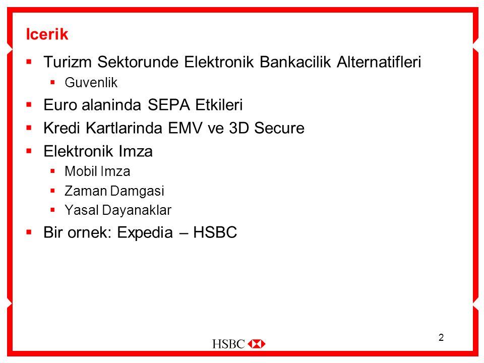 2 Icerik  Turizm Sektorunde Elektronik Bankacilik Alternatifleri  Guvenlik  Euro alaninda SEPA Etkileri  Kredi Kartlarinda EMV ve 3D Secure  Elektronik Imza  Mobil Imza  Zaman Damgasi  Yasal Dayanaklar  Bir ornek: Expedia – HSBC
