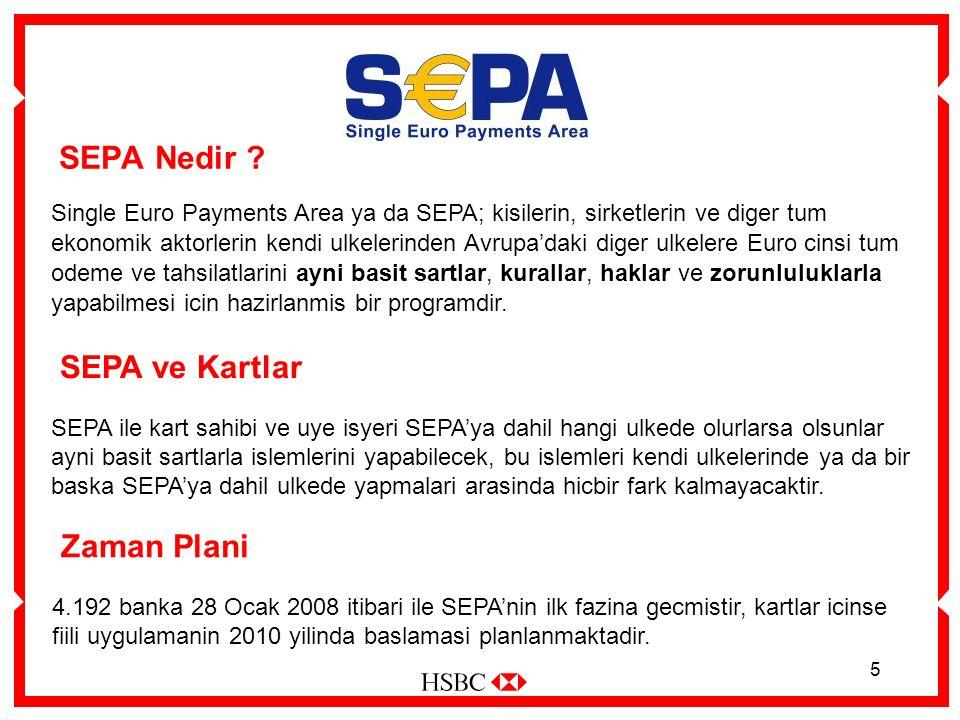 5 SEPA Nedir ? Single Euro Payments Area ya da SEPA; kisilerin, sirketlerin ve diger tum ekonomik aktorlerin kendi ulkelerinden Avrupa'daki diger ulke
