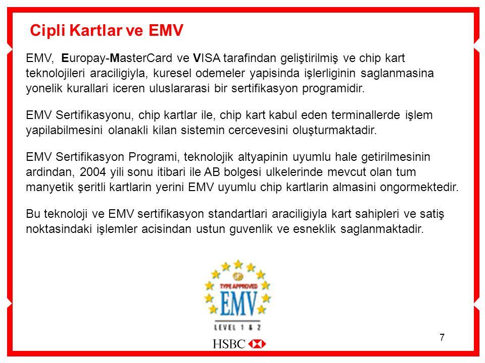 7 Cipli Kartlar ve EMV EMV, Europay-MasterCard ve VISA tarafindan geliştirilmiş ve chip kart teknolojileri araciligiyla, kuresel odemeler yapisinda işlerliginin saglanmasina yonelik kurallari iceren uluslararasi bir sertifikasyon programidir.