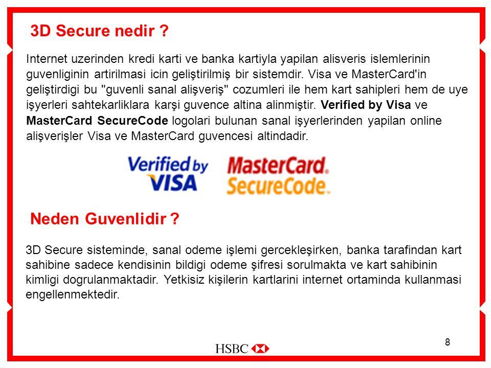 8 3D Secure nedir ? Internet uzerinden kredi karti ve banka kartiyla yapilan alisveris islemlerinin guvenliginin artirilmasi icin geliştirilmiş bir si