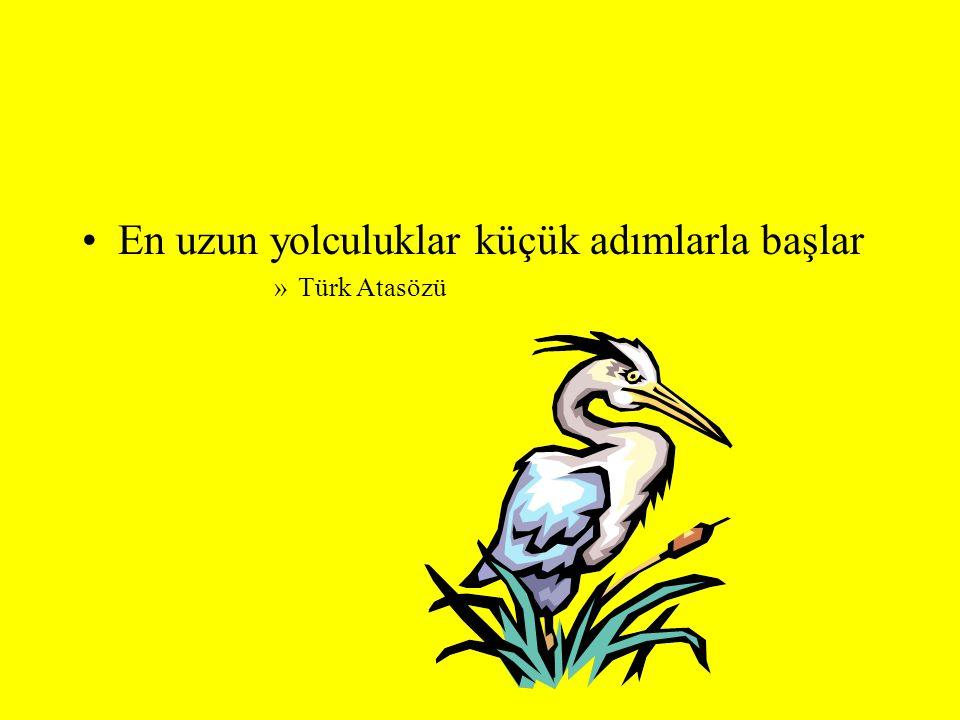 En uzun yolculuklar küçük adımlarla başlar »Türk Atasözü